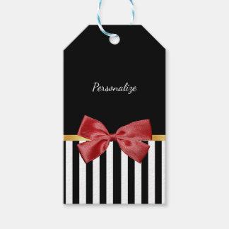 Eleganter Goldbogen-Schwarzweiss-Streifen mit Geschenkanhänger