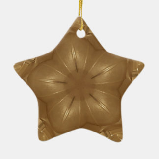 Eleganter Goldbrown-Kaleidoskop-Stern-Entwurf Keramik Ornament