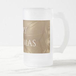 Eleganter Goldbrown-WeihnachtsKaleidoskop-Stern Mattglas Bierglas