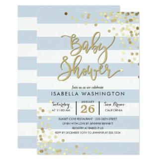 Eleganter GoldConfetti der Babyparty-  u. blaue 12,7 X 17,8 Cm Einladungskarte