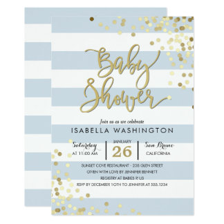 Eleganter GoldConfetti der Babyparty-| u. blaue Karte