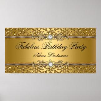 Eleganter Golddamast prägeartige Geburtstags-Fahne Poster