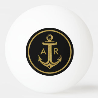 Eleganter goldener Anker der Initialen-| Tischtennis Ball