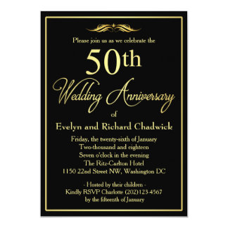 Eleganter goldener Hochzeitstag 12,7 X 17,8 Cm Einladungskarte