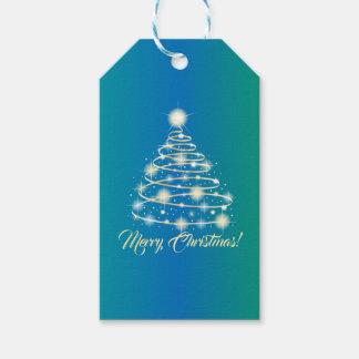 Eleganter Goldfeiertags-festlicher fröhlicher Geschenkanhänger