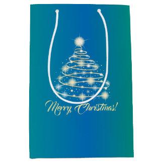 Eleganter Goldfeiertags-festlicher fröhlicher Mittlere Geschenktüte