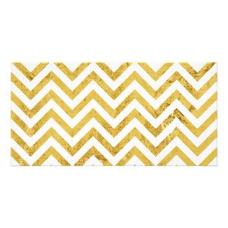 Eleganter Goldfolien-Zickzack Stripes Zickzack Photo Karten