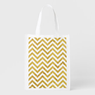 Eleganter Goldfolien-Zickzack Stripes Zickzack Wiederverwendbare Einkaufstasche