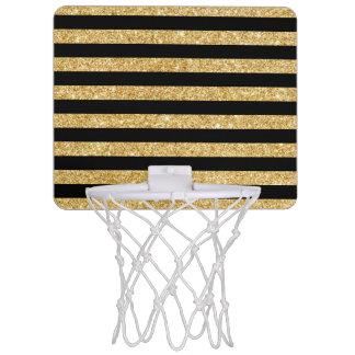 Eleganter GoldGlitter und schwarzes Mini Basketball Ring
