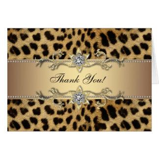 Eleganter Goldleopard danken Ihnen Karten