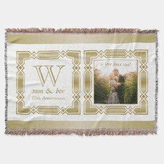 Eleganter Goldmonogramm-Foto-Hochzeits-Jahrestag Decke