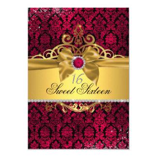Eleganter Goldrosa-Damast 16. Geburtstag laden ein Karte
