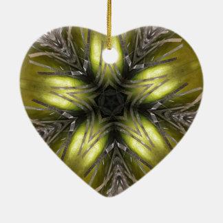 Eleganter Goldsilber-Kaleidoskop-Weihnachtsstern Keramik Ornament