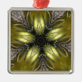 Eleganter Goldsilber-Kaleidoskop-Weihnachtsstern Silbernes Ornament