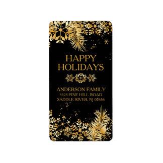 Eleganter GoldweihnachtsRücksendeadresse-Aufkleber Adressaufkleber