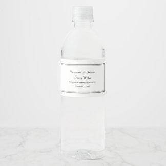 Eleganter grauer gerahmter wasserflaschenetikett