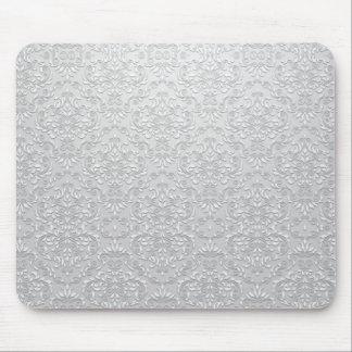 Eleganter grauer und weißer Damast-Vektor Mauspad