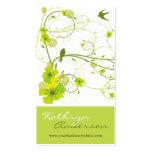 Eleganter grüner Hibiskus-Blumenstrudel schluckt V Visitenkarten Vorlagen