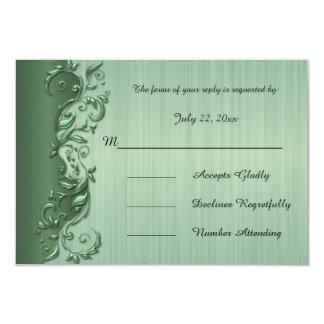 Eleganter grüner u. silberner blumiger 8,9 x 12,7 cm einladungskarte