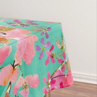 Eleganter Handfarben-Aquarellfrühling mit Blumen Tischdecke
