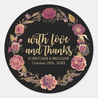 Eleganter Herbst-Kranz danken Ihnen die Hochzeit, Runder Aufkleber