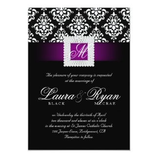 Eleganter Hochzeits-Damast Jewels lila 12,7 X 17,8 Cm Einladungskarte