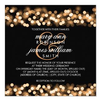 Eleganter Hochzeits-Goldhollywood-Zauber Quadratische 13,3 Cm Einladungskarte