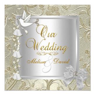 Eleganter Hochzeits-Goldsilber-Weiß-Tauben-Damast Quadratische 13,3 Cm Einladungskarte