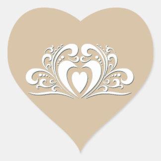 Eleganter Hochzeits-Herz-Aufkleber