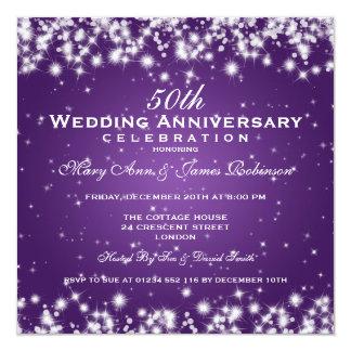 Eleganter Hochzeits-Jahrestags-Winter-Schein lila Quadratische 13,3 Cm Einladungskarte