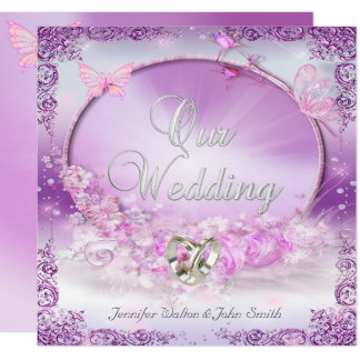 Eleganter Hochzeits-Rosa-lila Ring-Schmetterling Karte