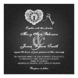 Eleganter Hochzeits-Schlüssel zu meinem Quadratische 13,3 Cm Einladungskarte