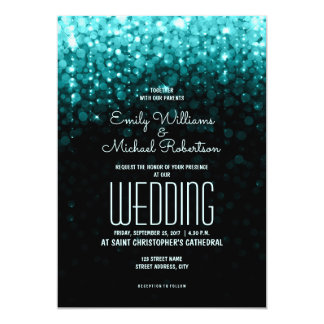 Eleganter Hochzeits-Türkis beleuchtet bokeh Karte