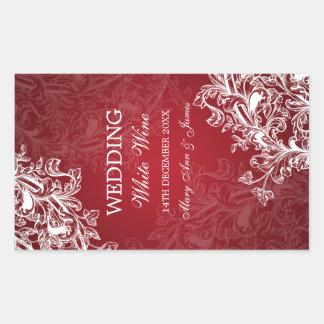 Eleganter Hochzeits-Wein-Aufkleber-Vintager Wirbel Rechteckiger Aufkleber