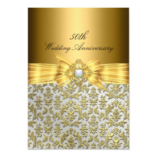Eleganter Hochzeitstag des Damast-50. laden ein 12,7 X 17,8 Cm Einladungskarte