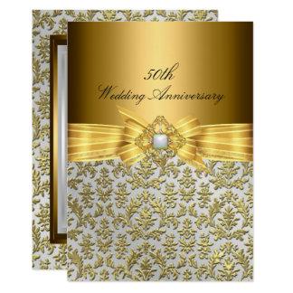 Eleganter Hochzeitstag des Damast-50. laden ein Karte