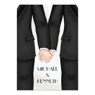 Eleganter homosexueller Hochzeits-Bräutigam, der Karte