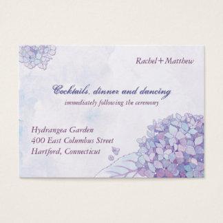 Eleganter Hydrangea-Hochzeits-Empfang Visitenkarte