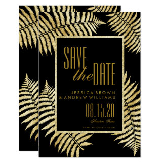 Eleganter Imitat-Goldblatt-Adlerfarn Save the Date Karte