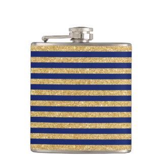 Eleganter Imitat-GoldGlitter und blauer Flachmann