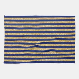 Eleganter Imitat-GoldGlitter und blauer Handtuch
