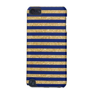 Eleganter Imitat-GoldGlitter und blauer iPod Touch 5G Hülle