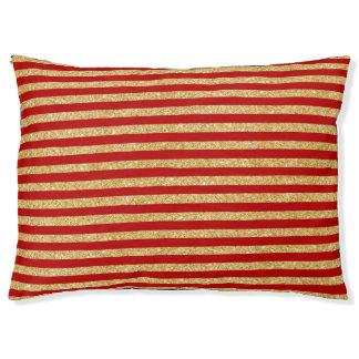 Eleganter Imitat-GoldGlitter und rotes Haustierbett