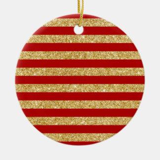 Eleganter Imitat-GoldGlitter und rotes Rundes Keramik Ornament