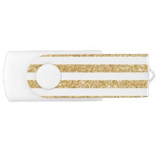 Eleganter Imitat-GoldGlitter und weißes Swivel USB Stick 2.0