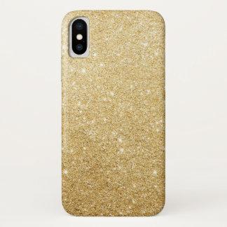 Eleganter Imitat-GoldGlitzer-Luxus iPhone X Hülle
