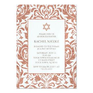 Eleganter Imitat-Rosen-GoldGlitter-Damast-Schläger 12,7 X 17,8 Cm Einladungskarte