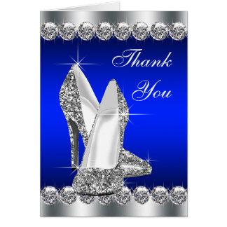 Eleganter Königsblau-Absatz-Schuh danken Ihnen Karte