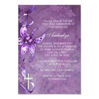 Eleganter Lavendel-lila erste Kommunions-Einladung 8,9 X 12,7 Cm Einladungskarte