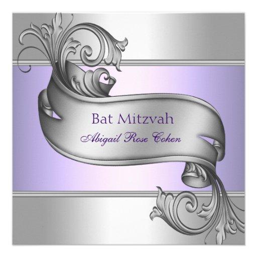 Eleganter Lavendel-lila Schläger Mitzvah Individuelle Ankündigskarten
